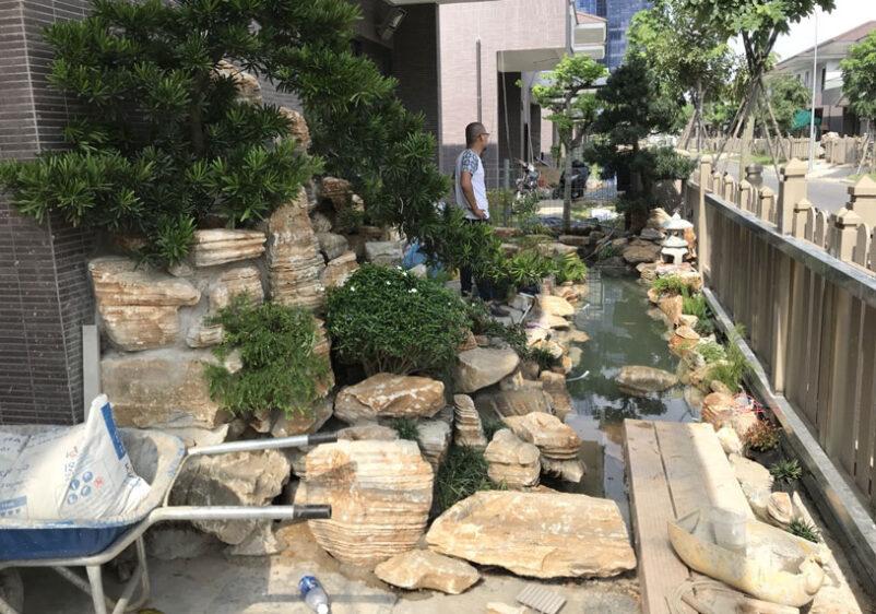 Công trình Thi công hồ cá koi tại Villa Tân Cảng và Sân vườn được hoàn thành 80% của SGL