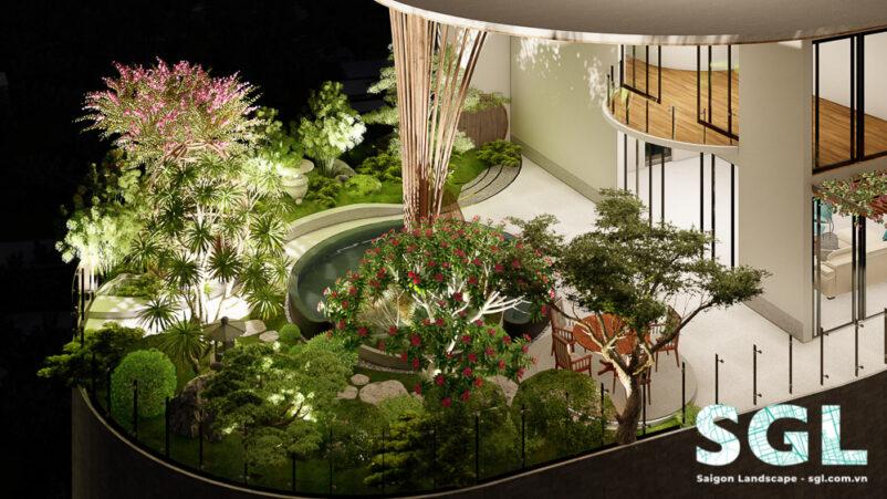 Mẫu Thiết Kế Sân Vườn Penthouse phong cách Á Đông