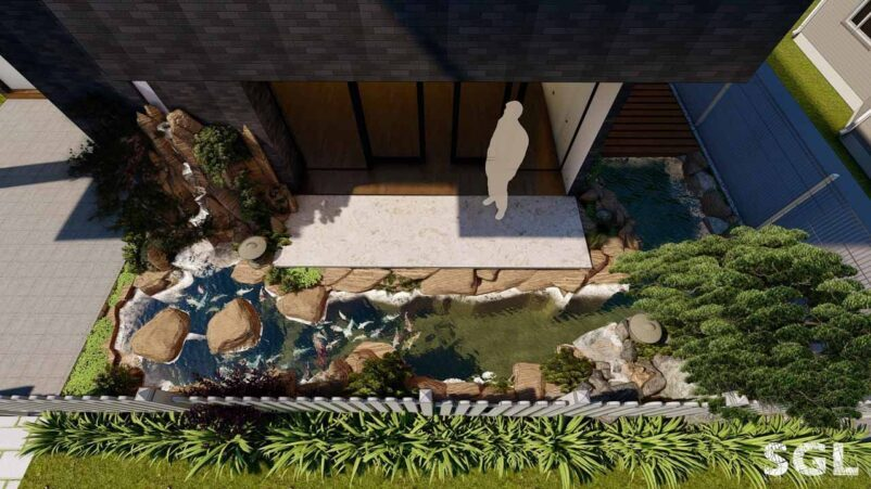 mẫu thiết kế hồ cá koi ngoài trời nhà phố