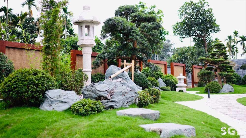 Sân vườn Nhật Bản do SGL thực hiện sử dụng một số cây vạn niên tùng nhập từ Nhật Bản