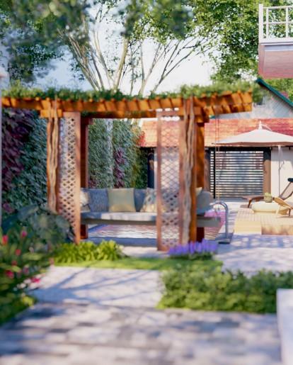 thiết kế sân vườn biệt thự thỏ trắng tại vũng tàu