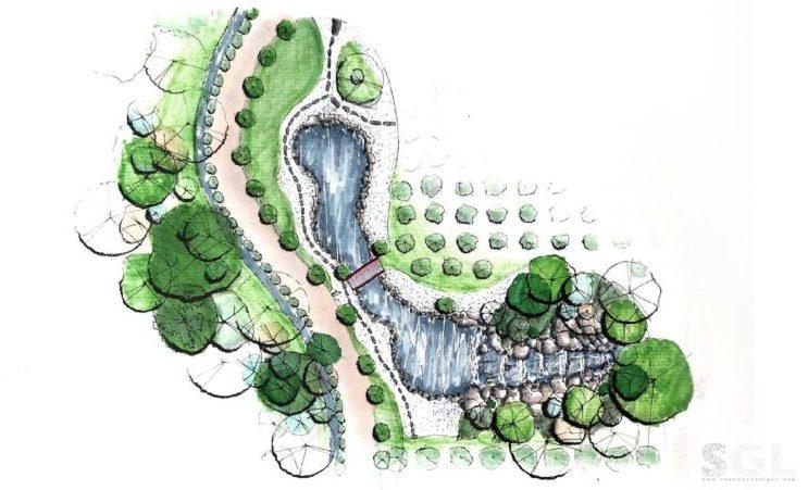 Một bản vẽ thiết kế vườn Nhật tiêu biểu thể hiện nguyên tắc bất đối xứng
