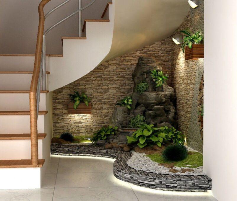 tiểu cảnh thác nước dưới gầm cầu thang