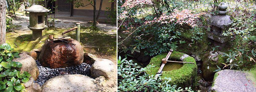 tiểu cảnh bồn nước và đèn đá trong vườn trà chaniwa