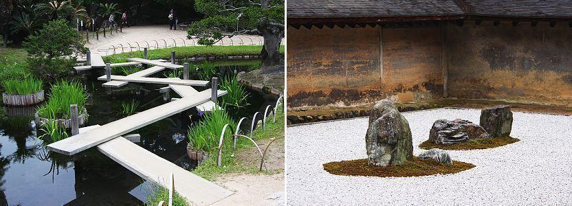 Cầu bằng gỗ thiết kế theo dạng zic-zac ở Korakuen (ảnh trái) và những hòn đảo bằng đá giữa biển bằng sỏi ở Ryoanji (ảnh phải)