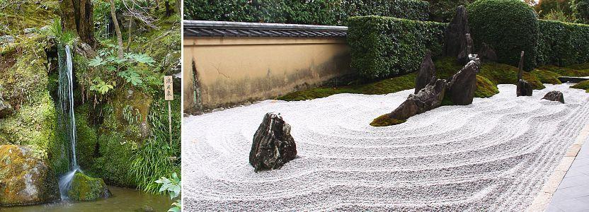 Thác nước ở thiền viện Jishō-ji hay còn gọi là Ngân Các Tự (ảnh trái) và tạo hình sỏi biểu trưng cho biển động ở đền Daitokuji