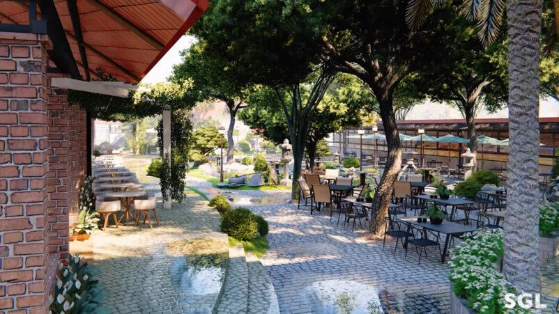 cách bố trí quán cafe sân vườn