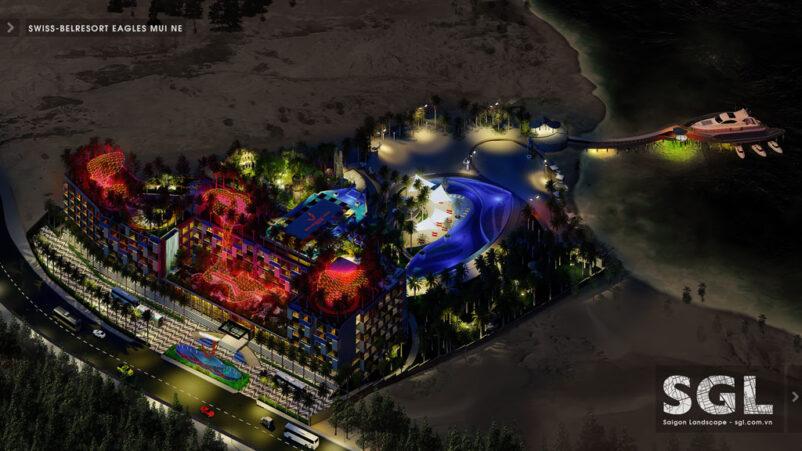 Mẫu thiết kế cảnh quan khu resort tuyệt đẹp về đêm