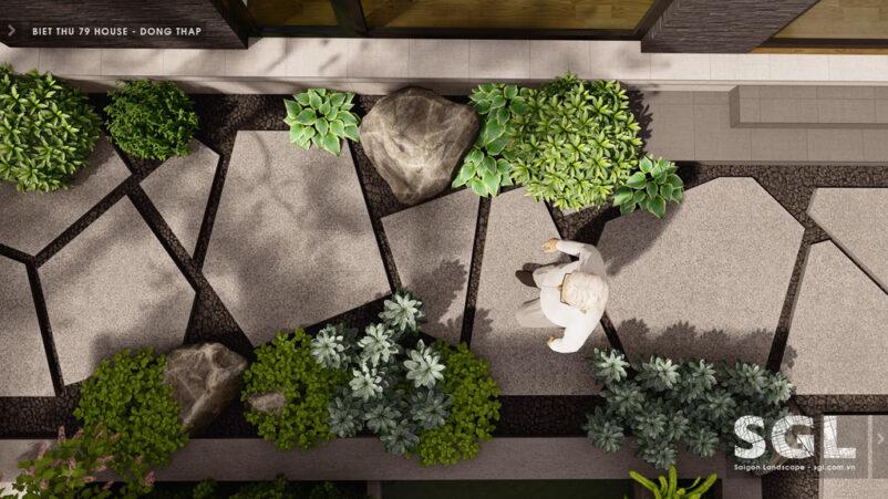 Tùy theo phong cách khu vườn mà lựa chọn kích thước và hình dạng đá dậm bước để lát lối đi