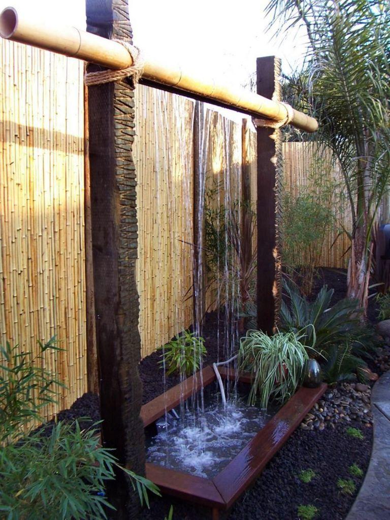 mẫu tiểu cảnh thác nước bằng ống tre
