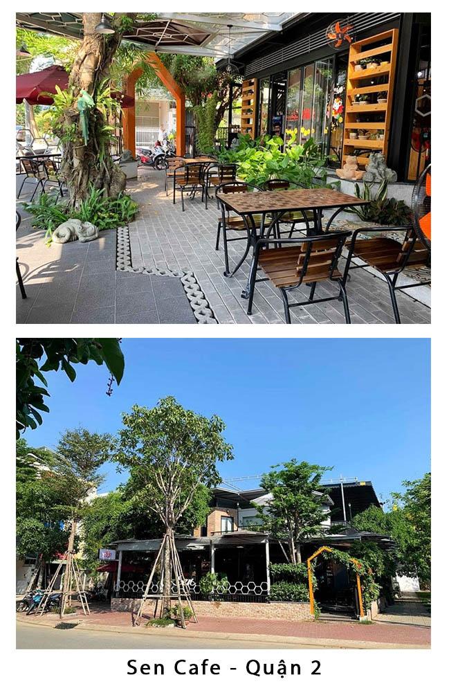 quán cafe sân vườn sen cafe quận 2