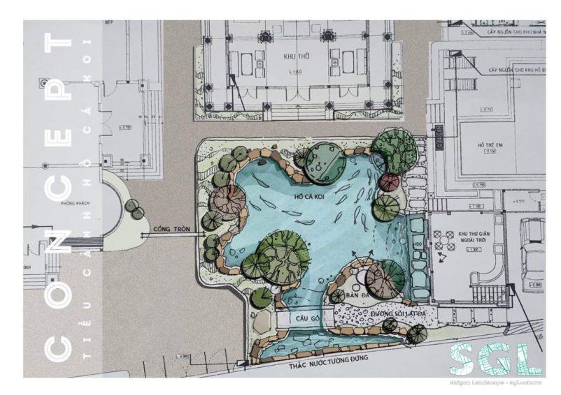 Concept vẽ tay hồ cá koi cho sân vườn biệt thự