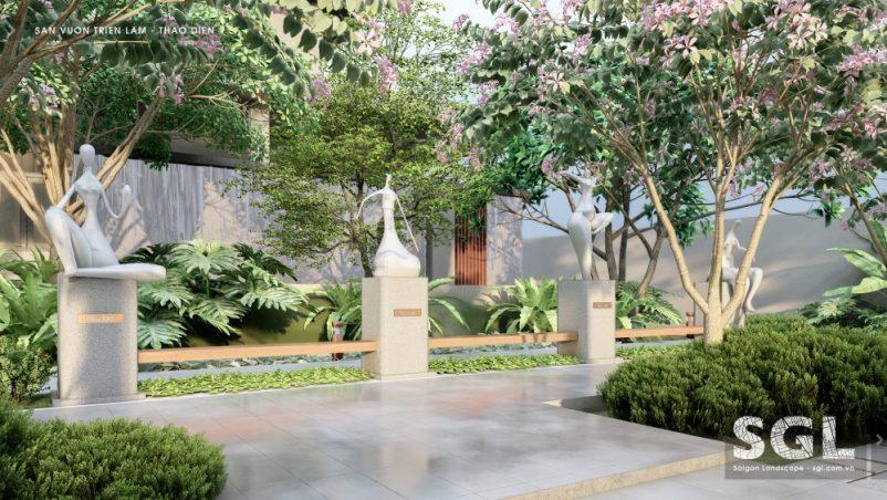 Nghệ thuật điêu khắc trong thiết kế sân vườn